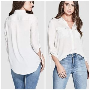 NEW GUESS BY MARCIANO REESE SPLIT-SLEEVE SHIRT M